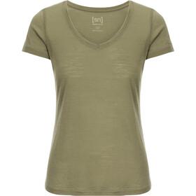 super.natural Base 140 T-shirt à col en V Femme, bamboo/killer khaki